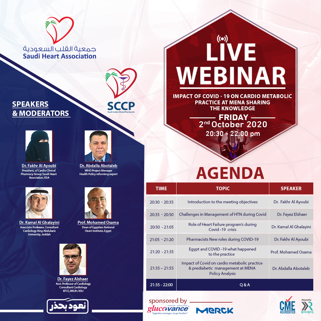 IMPACT OF COVID-19 ON CARDIO METABOLIC PRACTICE AT MENA SHARING THE KNOWLEDGE