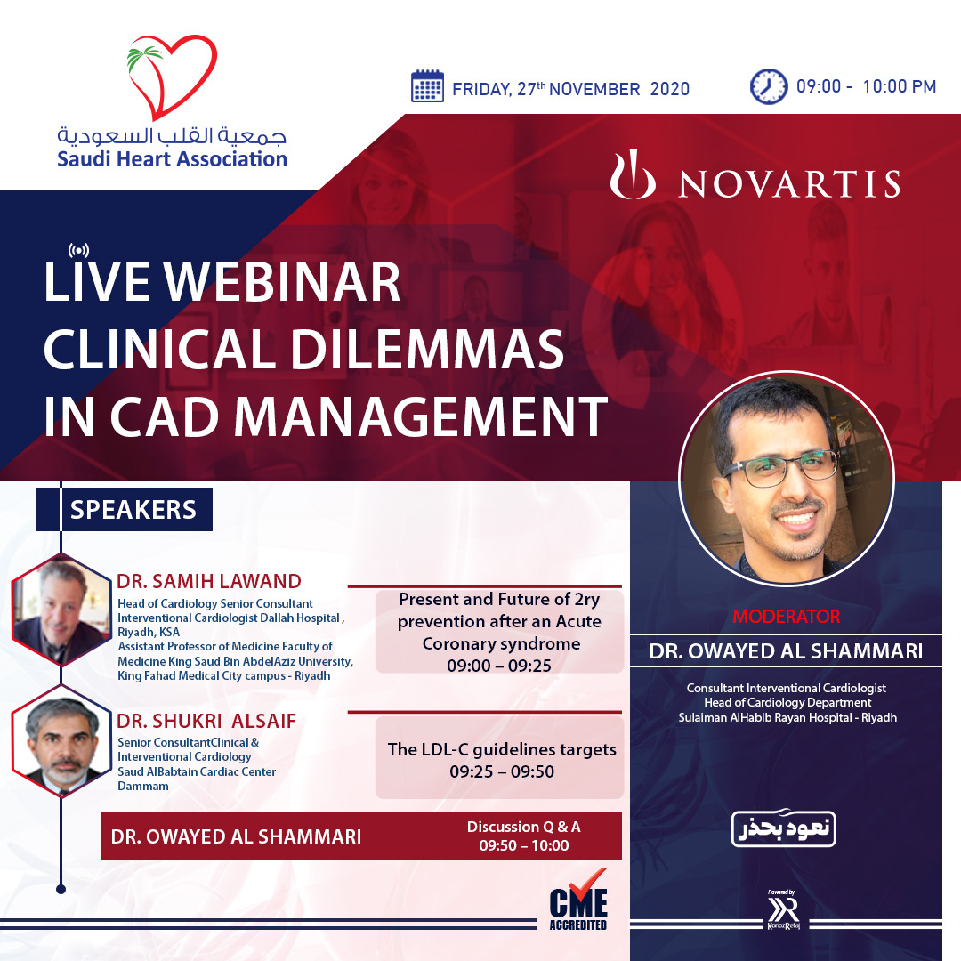 LIVE WEBINAR CLINICAL DILEMMAS IN CAD MANAGEMNET